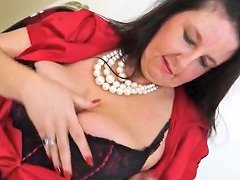 Big MILF Tits Are Sexy In A Red Satin Blouse