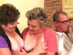 Young Guy Sucks Tits Of Three Mature Chicks