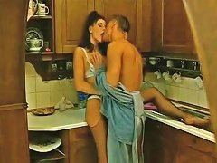Slutty Brunette Housewife Takes Young Cock In All 3