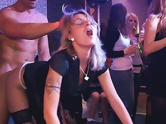 Stocking Clad Cougar With Long Dark Hair Enjoying A Hardcore Gangbang