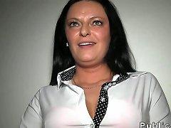 Busty Milf Has Sex In Public Stairway