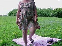 Mature Slut Suzy's Solo Outdoor Strip And Show