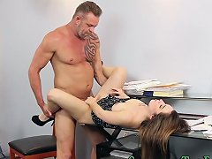 Hot Secretary Beauty Is Tempted To Spread Her Legs For This Fellow With A Hulking Willy And Fuck In Different Poses