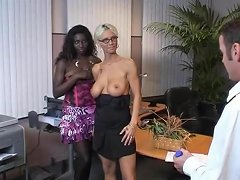 Blond And Black Girl Fucked In Office