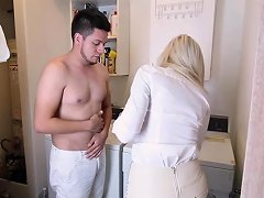 Enticing Stepmom Pussy Worked By Fiery Teen And Hung Stepson