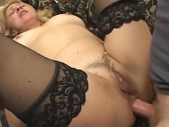 Dirty Old Blonde Sucks On Two Thick Cocks At Once Then Fucks