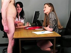 Office Babes Stroking Dick During Cfnm Fetish Nuvid