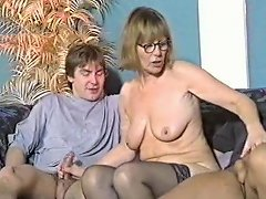 Nerdy Granny Gets Two Dicks