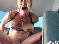 Colossal Dildo Fucking Orgasms In Her Car
