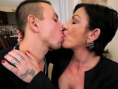 Inked Granny On Young Cock