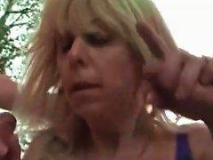 Outdoor Threesome Stars Curvy Mature Blonde